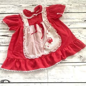 Vintage 1980's Winnie the Pooh red apron dress